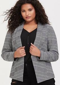 Torrid, black & white plaid blazer, Size 12